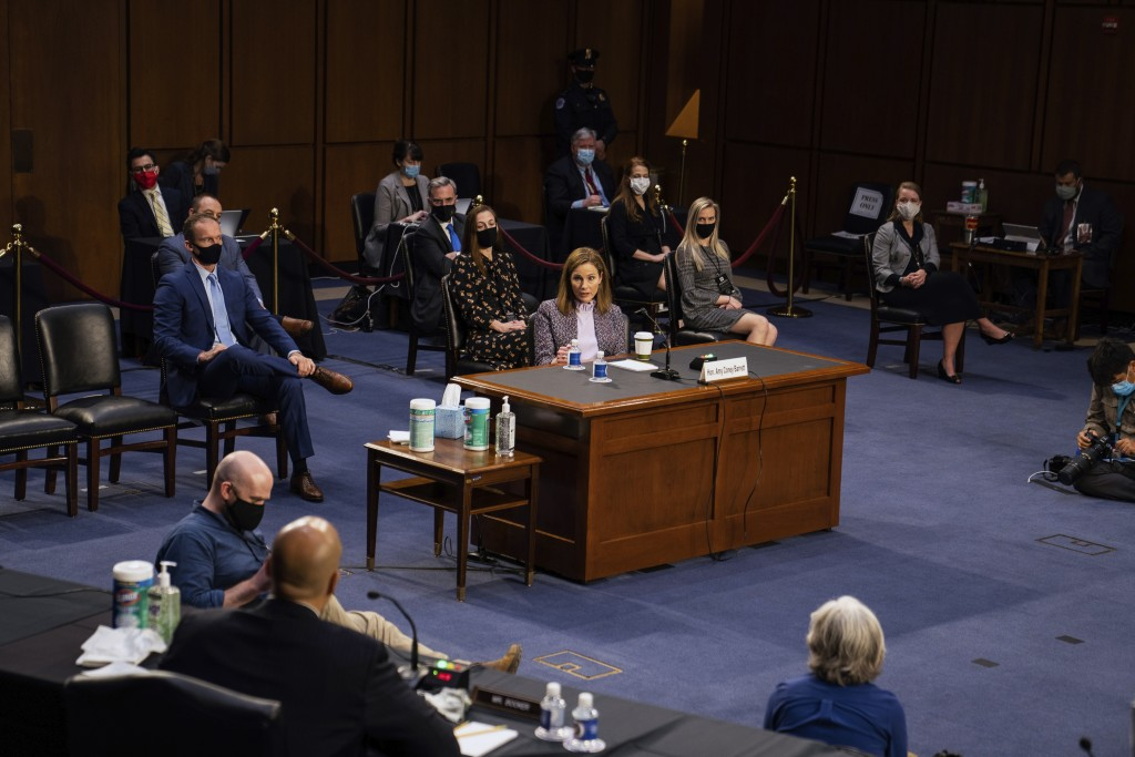 Supreme Court nominee Amy Coney Barrett speaks during a confirmation hearing before the Senate Judiciary Committee, Wednesday, Oct. 14, 2020, on Capit...