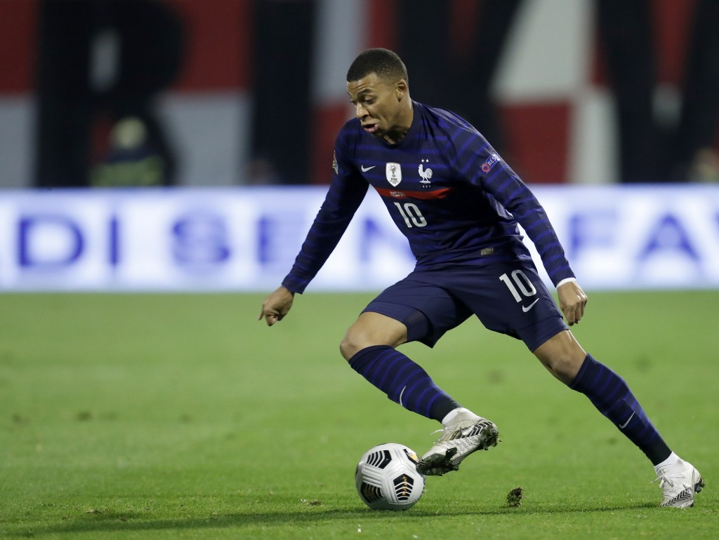 France's Kylian Mbappe controls the ball during the UEFA Nations League soccer match between Croatia and France at Maksimir Stadium in Zagreb, Croatia...