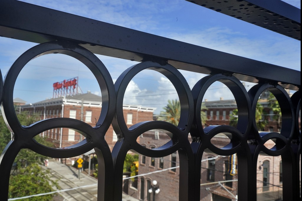 Wrought Iron railings on a balcony at the Hotel Haya overlooking Ybor Square is shown Monday, Aug. 31, 2020, in Tampa, Fla. When the pandemic hit, the...