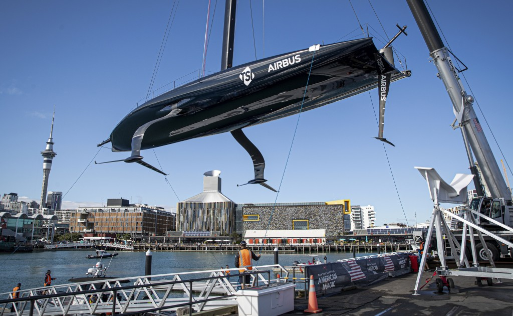 America's Cup challenger American Magic launches its second raceboat, Patriot, in Auckland, New Zealand, Friday, Oct 16, 2020. Revealing significant d...
