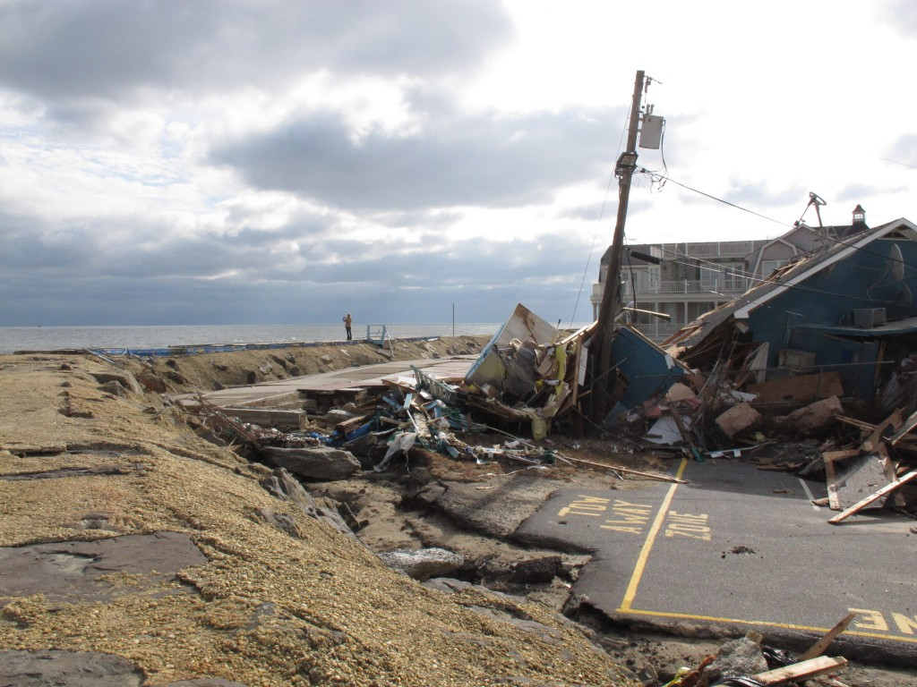 This Nov. 15, 2012 photo shows the remnants of an oceanfront building in Sea Bright N.J. that was destroyed by Superstorm Sandy. On Thursday, Oct. 15,...