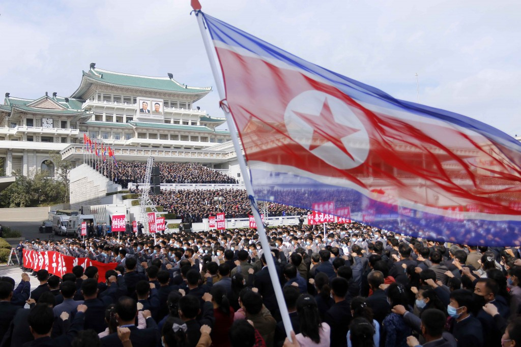 Thousands rally to welcome the 8th Congress of the Workers' Party of Korea at Kim Il Sung Square in Pyongyang, North Korea, Monday, Oct. 12, 2020. (AP...