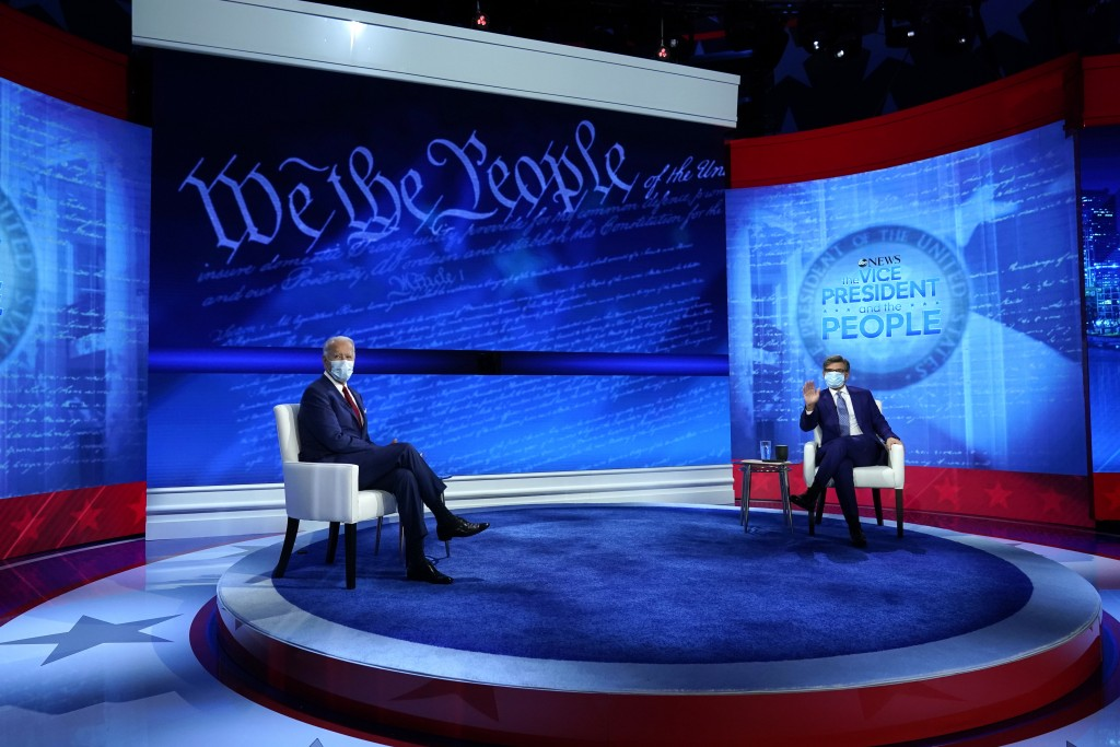 Democratic presidential candidate former Vice President Joe Biden participates in a town hall with moderator ABC News anchor George Stephanopoulos at ...
