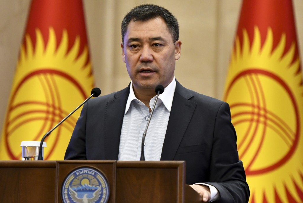 Kyrgyzstan's Prime Minister Sadyr Zhaparov delivers his speech during an official ceremony of transfer of the power at the Kyrgyzstan Parliament in Bi...