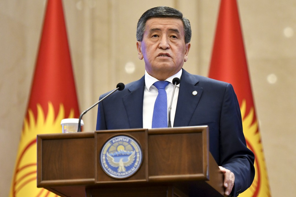 Kyrgyzstan's President Sooronbai Jeenbekov delivers his speech during an official transfer of power ceremony at the Kyrgyzstan Parliament in Bishkek, ...