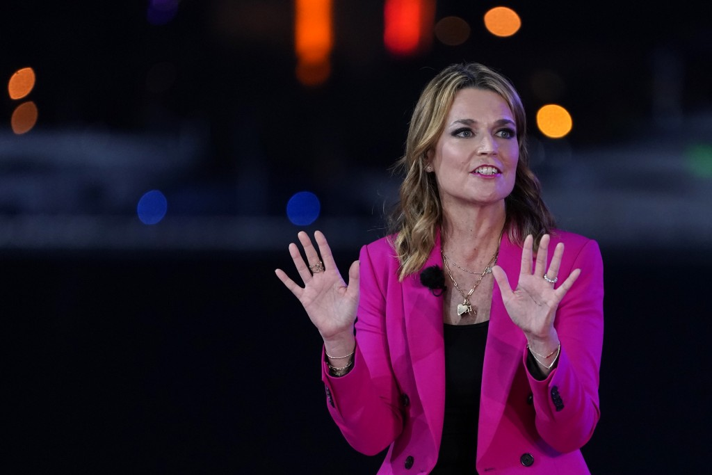 Moderator Savannah Guthrie speaks during an NBC News Town Hall with President Donald Trump at Perez Art Museum Miami, Thursday, Oct. 15, 2020, in Miam...