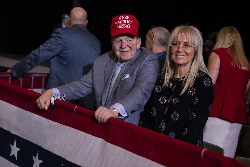 FILE - In this Feb. 21, 2020, file photo businessman and Republican donor Sheldon Adelson waits for the arrival of President Donald Trump to a campaig...