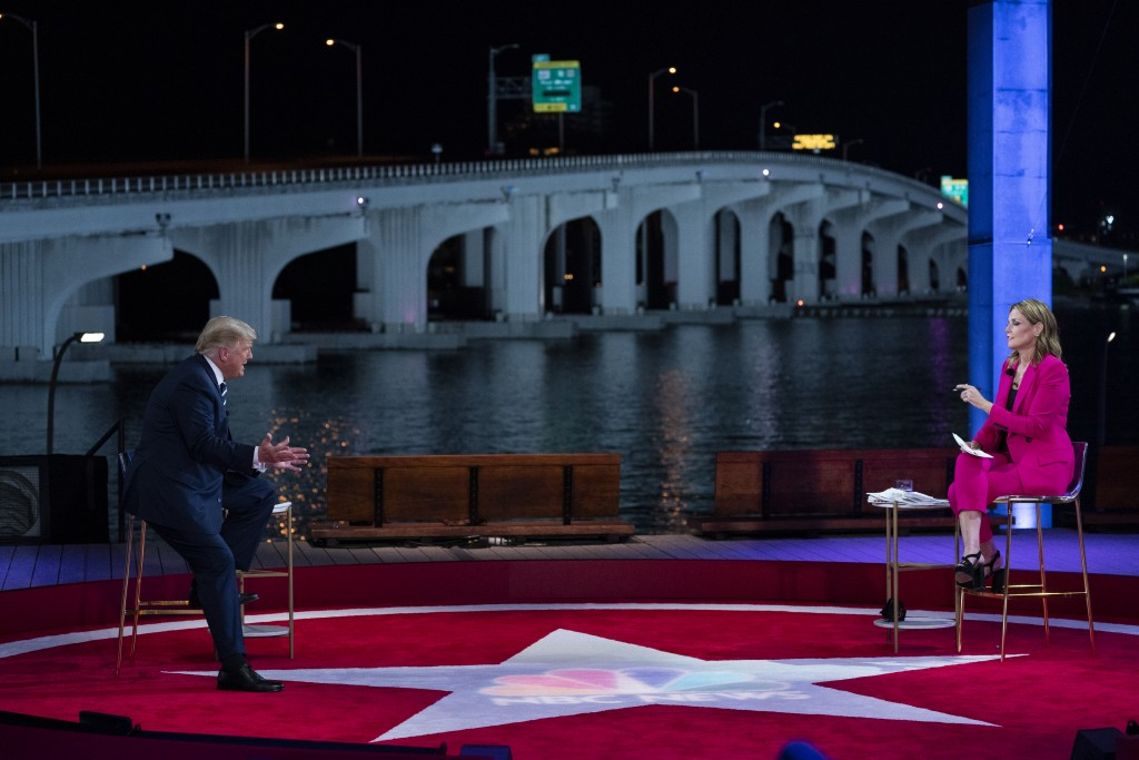 President Donald Trump speaks during an NBC News Town Hall with moderator Savannah Guthrie, at Perez Art Museum Miami, Thursday, Oct. 15, 2020, in Mia...