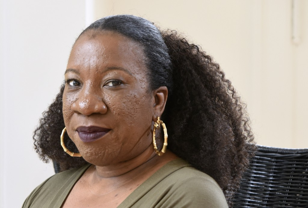 Tarana Burke, founder and leader of the #MeToo movement, sits in her home in Baltimore on Tuesday, Oct. 13, 2020. As the #MeToo movement marks the thi...