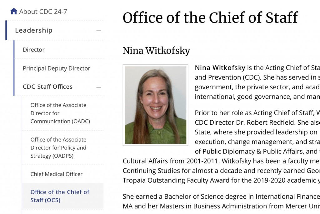 This Tuesday, Oct. 13, 2020 image from the U.S. Centers of Disease Control and Prevention website shows part of page for Nina Witkofsky, new acting ch...