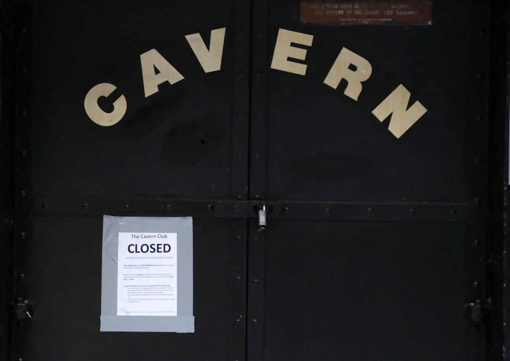 The doors of the famous Cavern Club are shut closed as new anti-coronavirus measures are set to come into force in Liverpool, England, Wednesday, Oct....