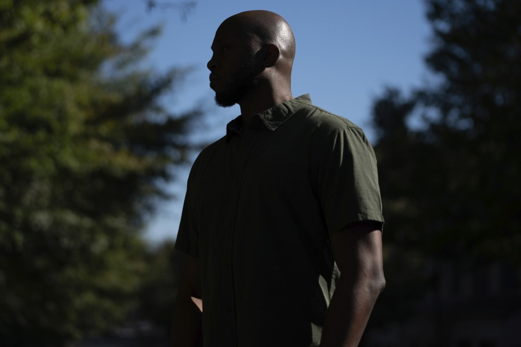 Theo Brown, a former Drug Enforcement Agency trainee, poses for a portrait outside his home in Marietta, Ga., on Wednesday, Oct. 14, 2020. As the DEA ...