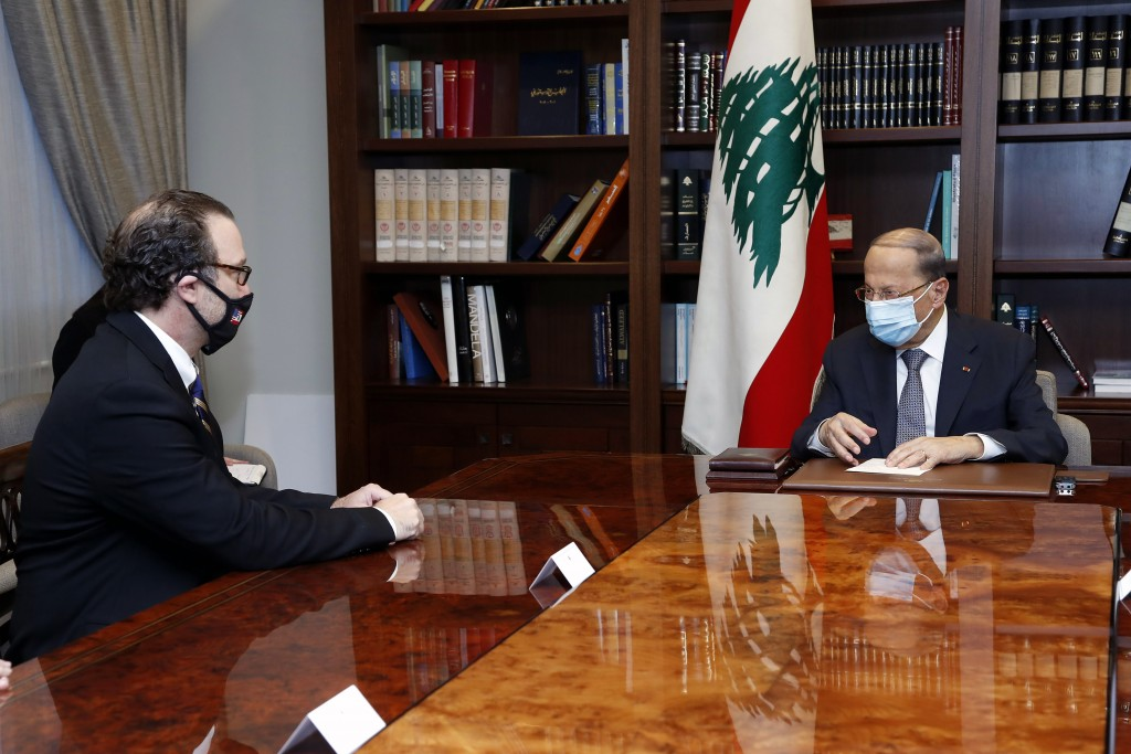 In this photo released by Lebanon's official government photographer Dalati Nohra, Lebanese President Michel Aoun, right, meets with U.S. Assistant Se...