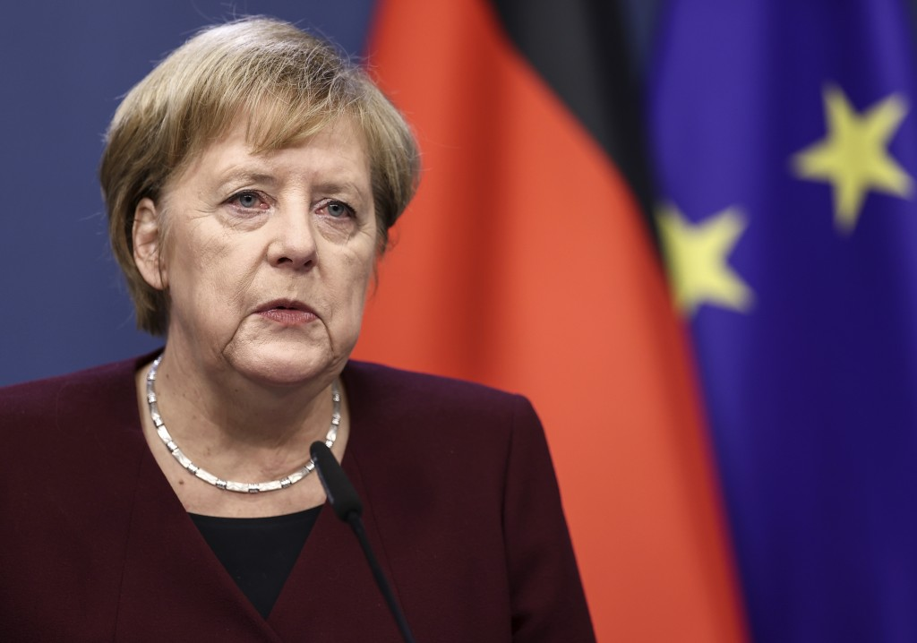 German Chancellor Angela Merkel speaks during a media conference at the end of an EU summit in Brussels, Friday, Oct. 16, 2020. European Union leaders...