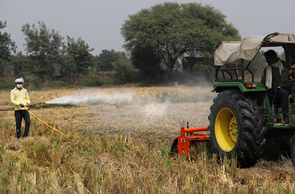 A farmer sprays bio-decomposer to convert agricultural waste into compost in a field, in a bid to contain farmers from setting fire to their post-harv...