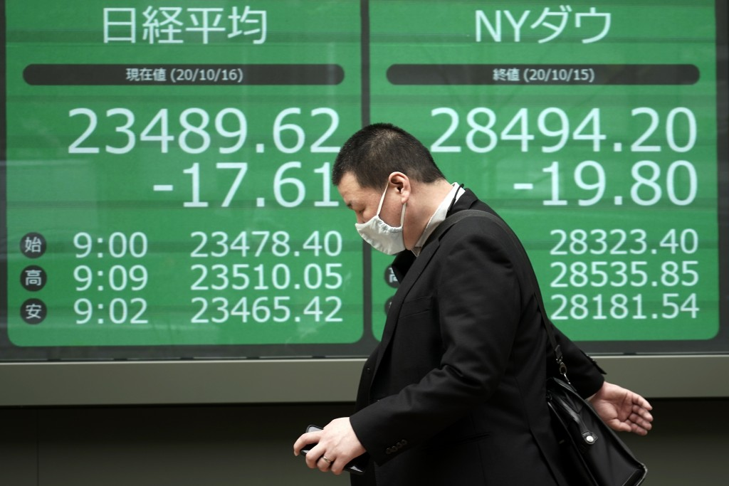A man walks past an electronic stock board showing Japan's Nikkei 225 and New York Dow indexes at a securities firm in Tokyo Friday, Oct. 16, 2020. As...