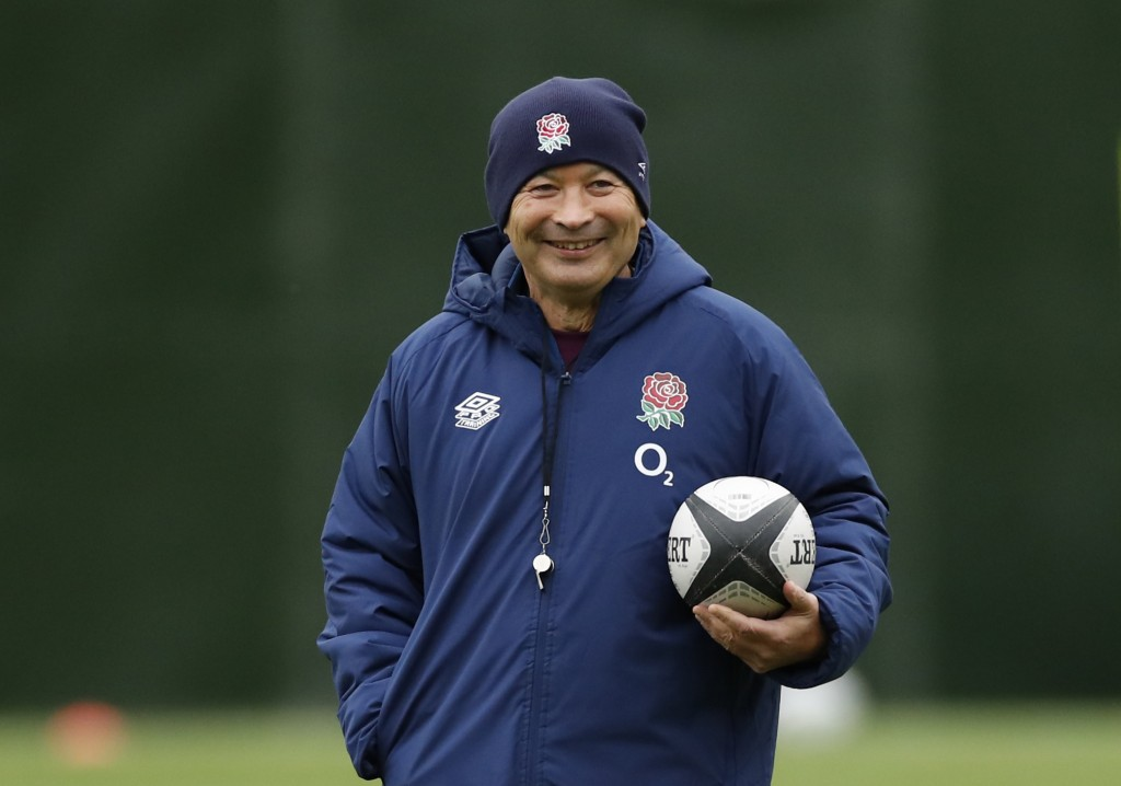 England's head coach Eddie Jones watches his players during an England rugby union team training session at Twickenham Stadium in London, Friday, Oct....