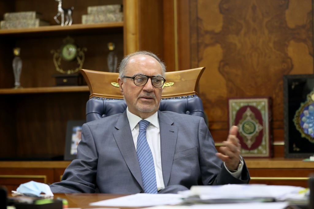 Ali Allawi, Iraq's finance minister speaks during an interview with The Associated Press in Baghdad, Iraq, Thursday, Oct. 15, 2020. Allawi said on Thu...