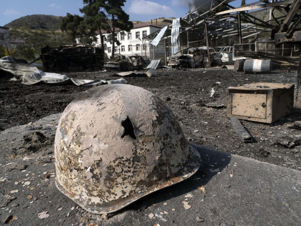 A broken solder's helmet is seen in a local hospital damaged by shelling from Azerbaijan's artillery during a military conflict, in the town of Martak...