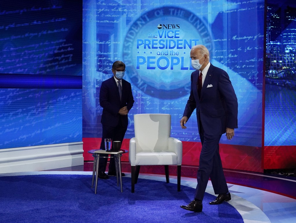 Democratic presidential candidate former Vice President Joe Biden arrives to participate in a town hall with moderator ABC News anchor George Stephano...