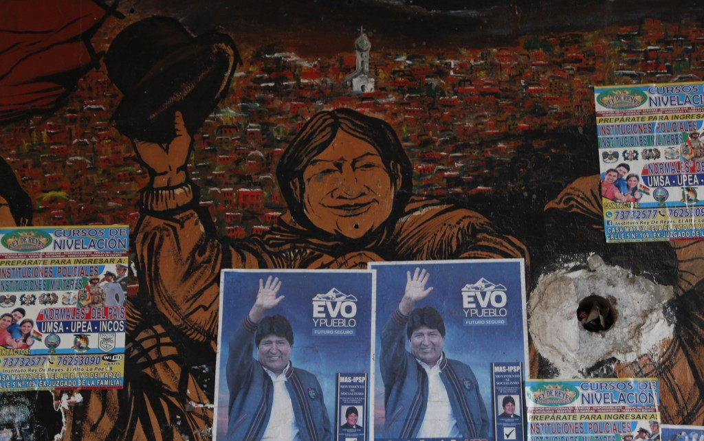 Posters of former Bolivian President Evo Morales adorn a wall in El Alto, Bolivia, Thursday, Oct. 15, 2020. Bolivia will hold general elections on Sun...