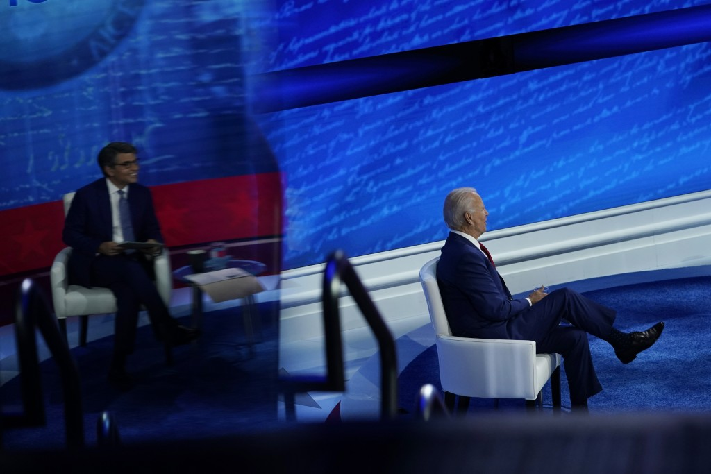 Democratic presidential candidate former Vice President Joe Biden participates in a town hall with moderator ABC News anchor George Stephanopoulos, se...
