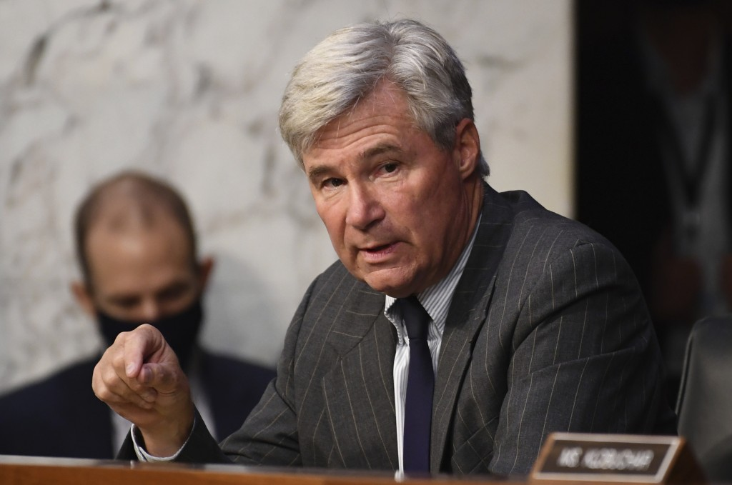 Sen. Sheldon Whitehouse, D-R.I., speaks during the confirmation hearing for Supreme Court nominee Amy Coney Barrett, before the Senate Judiciary Commi...