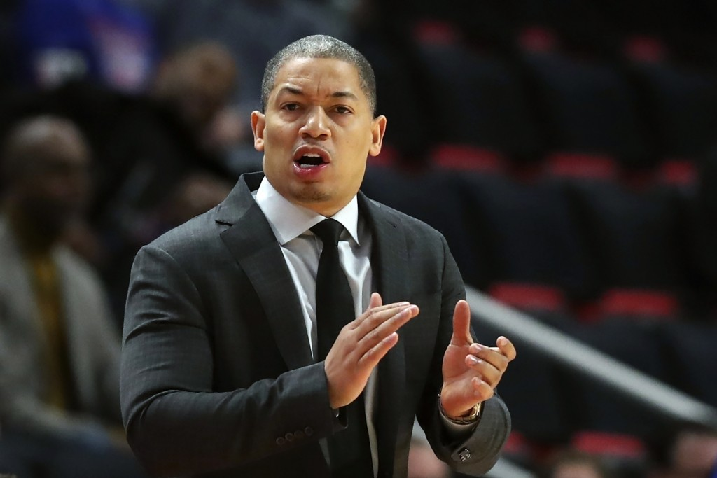 FILE - In this Thursday, Oct. 25, 2018, file photo, Cleveland Cavaliers head coach Tyronn Lue gestures during the first half of an NBA basketball game...