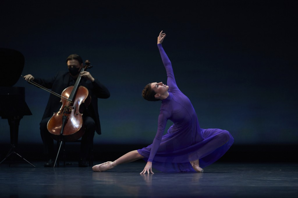 This Sept. 24, 2020 photo released by CLI Studios, Inc. shows Tiler Peck, a principal dancer with New York City Ballet, who has curated a virtual even...