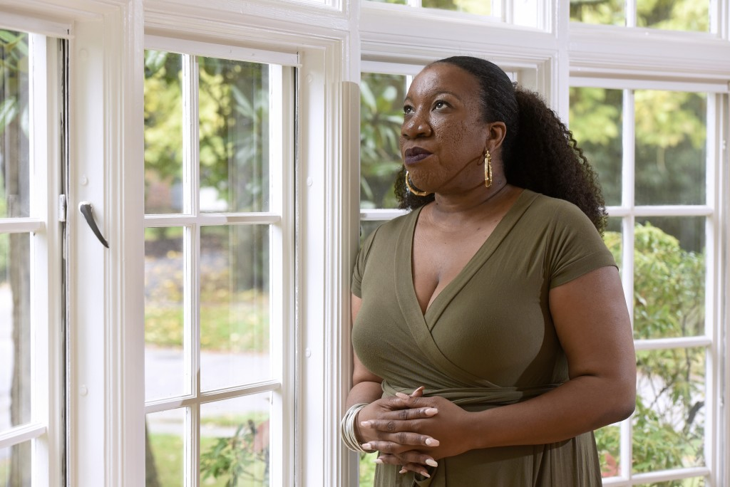 Tarana Burke, founder and leader of the #MeToo movement, stands in her home in Baltimore on Tuesday, Oct. 13, 2020. As the #MeToo movement marks the t...