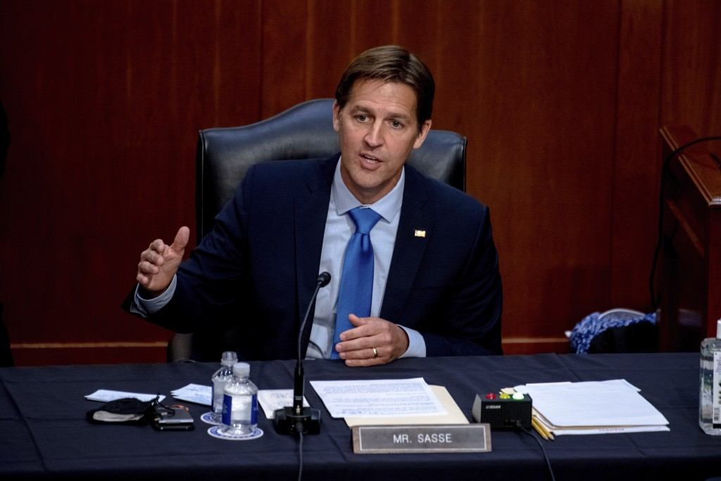 FILE - In this Oct. 14, 2020 file photo, Sen. Ben Sasse, R-Neb., speaks during the confirmation hearing for Supreme Court nominee Amy Coney Barrett, b...