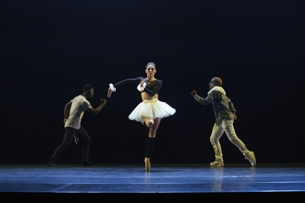 This photo released by CLI Studios, Inc. shows Tiler Peck, a principal dancer with New York City Ballet, who has curated a virtual evening of dance ca...