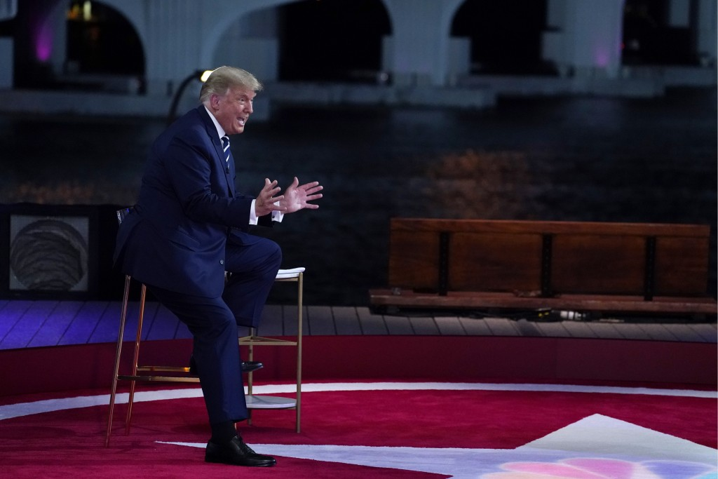 President Donald Trump speaks during an NBC News Town Hall, at Perez Art Museum Miami, Thursday, Oct. 15, 2020, in Miami. (AP Photo/Evan Vucci)