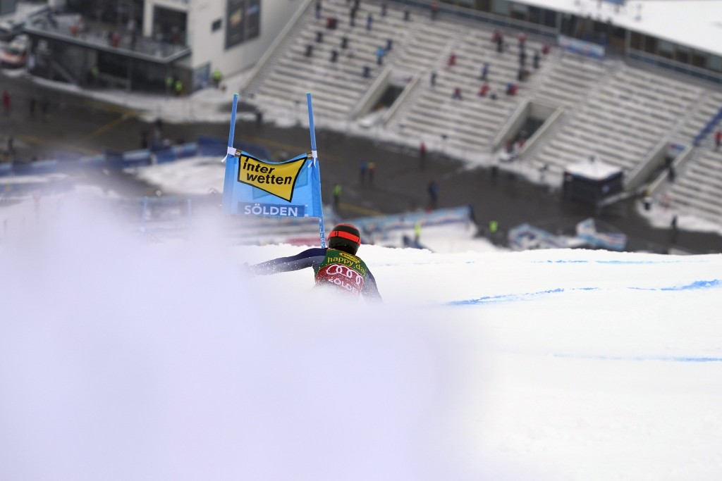 Italy's Federica Brignone speeds down the course during an alpine ski, women's World Cup giant slalom in Soelden, Austria, Saturday, Oct. 17, 2020. (A...