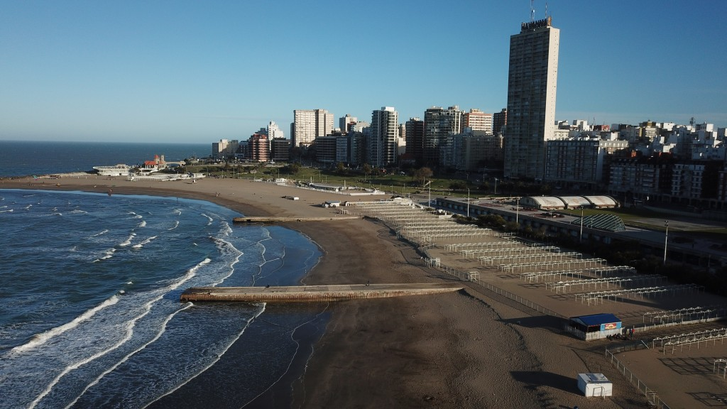 The beach is empty during the COVID-19 pandemic in Mar del Plata, Argentina, late morning on Saturday, Oct. 10, 2020. The beach resort has 26% unemplo...