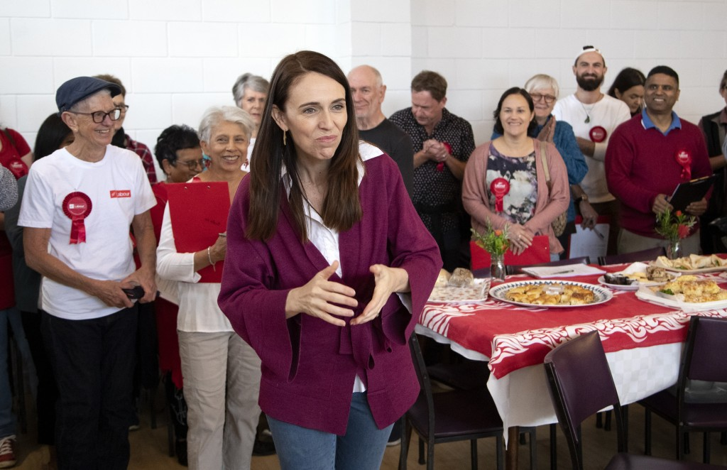 New Zealand Prime Minister Jacinda Ardern gestures as she thanks her electorate workers at an event in Auckland, New Zealand, Saturday, Oct. 17, 2020....
