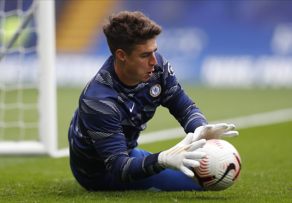 Chelsea's Spanish goalkeeper Kepa Arrizabalaga warms up before the English Premier League soccer match between Southampton and Chelsea at the Stamford...