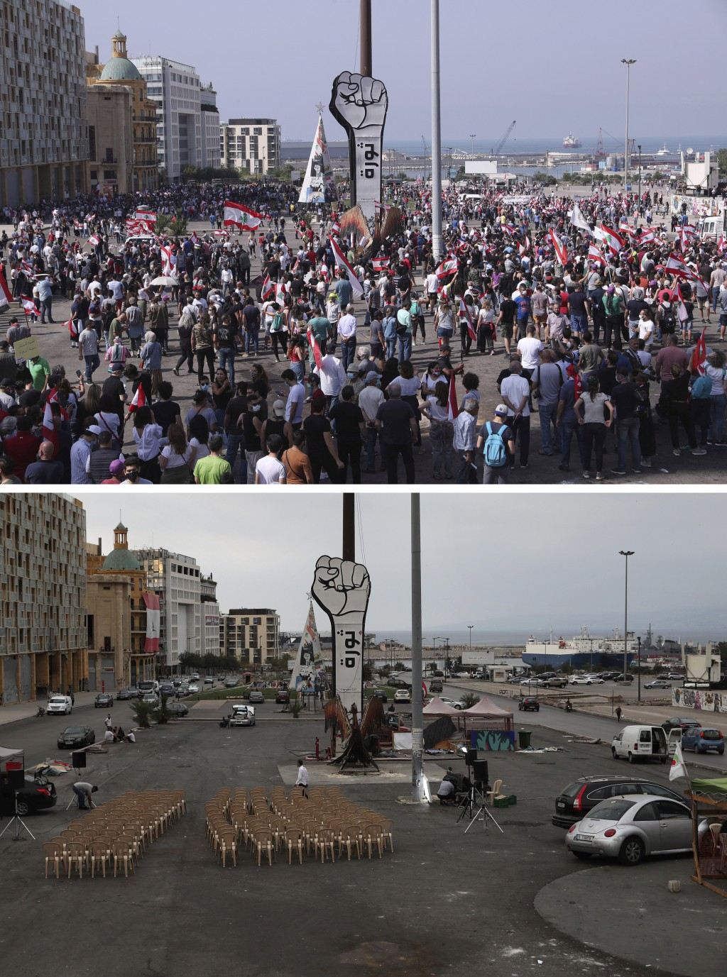 """In this two photo combination picture, top photo shows anti-government protesters gather around fist with an Arabic word that reads """"Revolution,"""" at M..."""