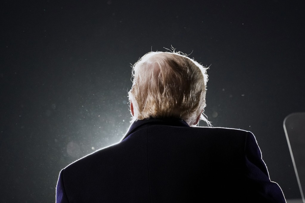 President Donald Trump speaks at a campaign rally at Des Moines International Airport, Wednesday, Oct. 14, 2020, in Des Moines, Iowa. (AP Photo/Alex B...