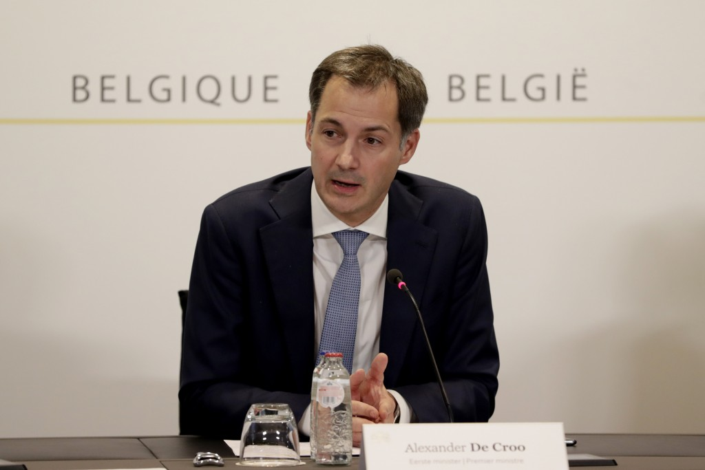Belgium's Prime Minister Alexander De Croo speaks during a media conference, after a committee to discuss new restrictive measures regarding coronavir...