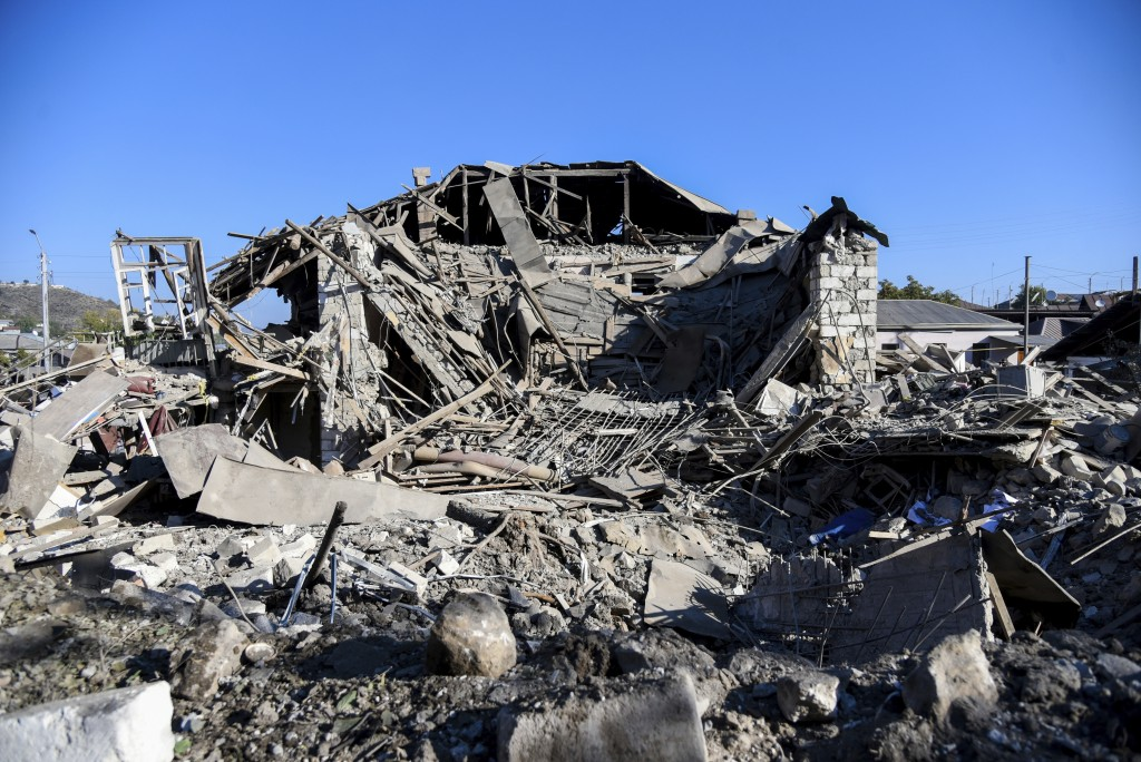 A view of a house destroyed by shelling during a military conflict in Stepanakert in the separatist region of Nagorno-Karabakh, Saturday, Oct. 17, 202...