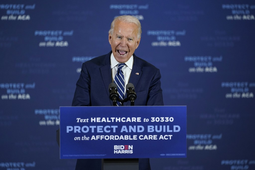 Democratic presidential candidate former Vice President Joe Biden speaks at Beech Woods Recreation Center, in Southfield, Mich., Friday, Oct. 16, 2020...