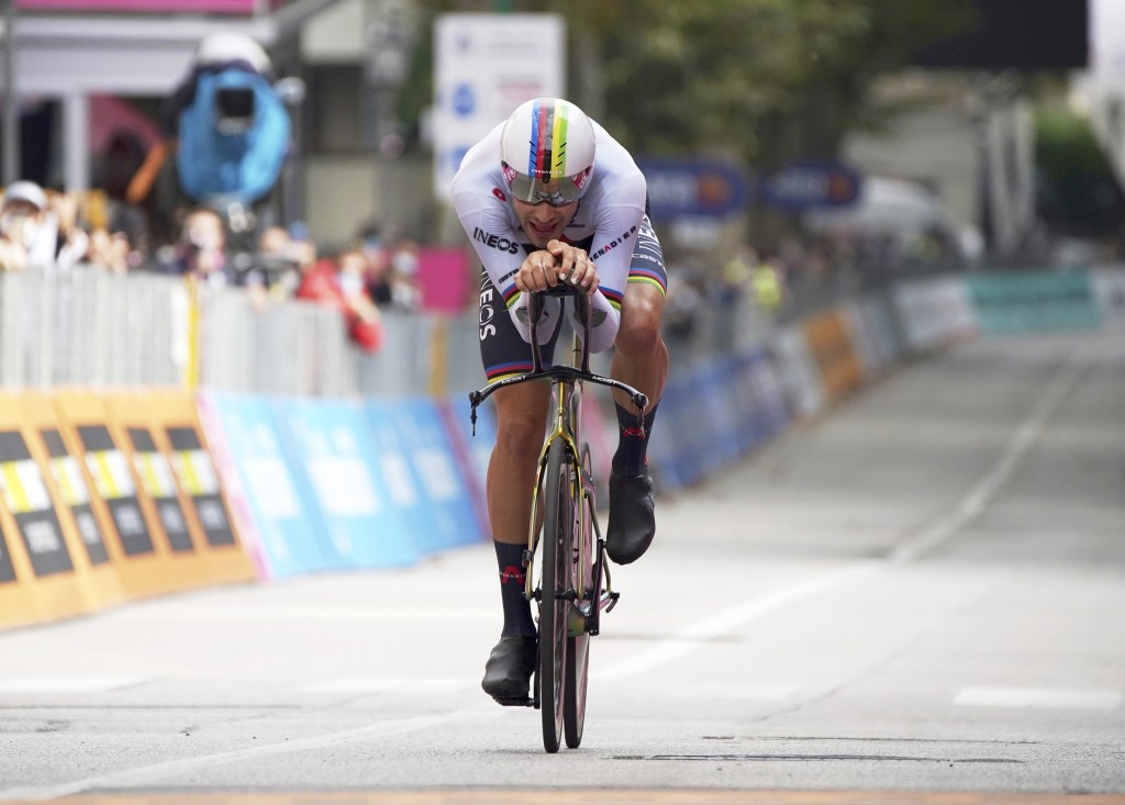 Italy's Filippo Ganna competes during the 14th stage of the Giro d'Italia cycling race, an individual time trial from Conegliano to Valdobbiadene, Ita...