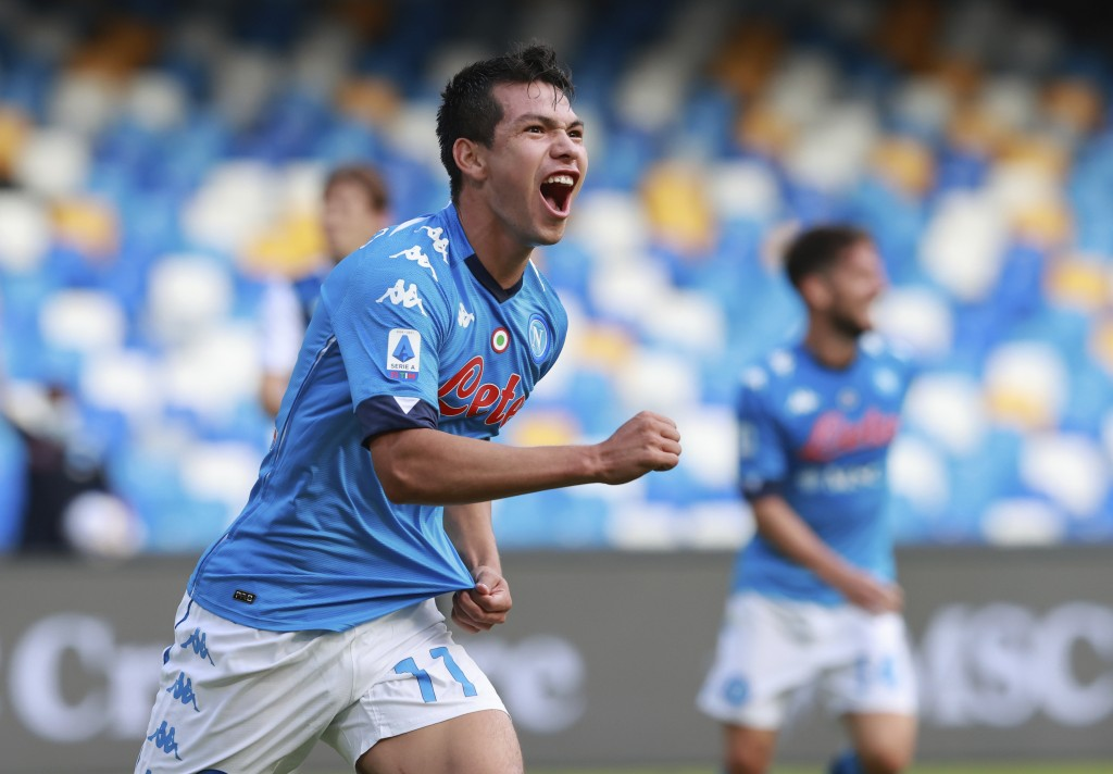 Napoli's Hirving Lozano celebrates after scoring his side's first goal during the Serie A soccer match between Napoli and Atalanta at the San Polo Sta...