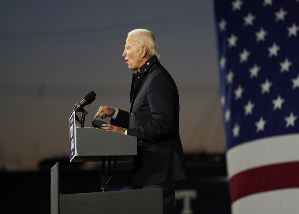 Democratic presidential candidate former Vice President Joe Biden speaks at Michigan State Fairgrounds in Novi, Mich., Friday, Oct. 16, 2020. (AP Phot...