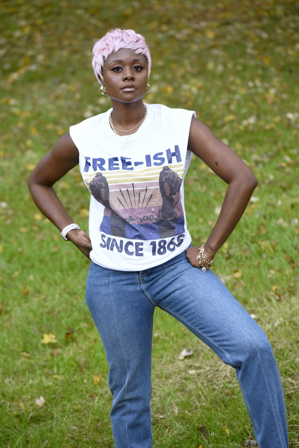 Nigerian American lifestyle blogger Nifesimi Akingbe stands outside her home in Randallstown, Md., near Baltimore, on Sunday, Oct. 11, 2020. Akingbe h...