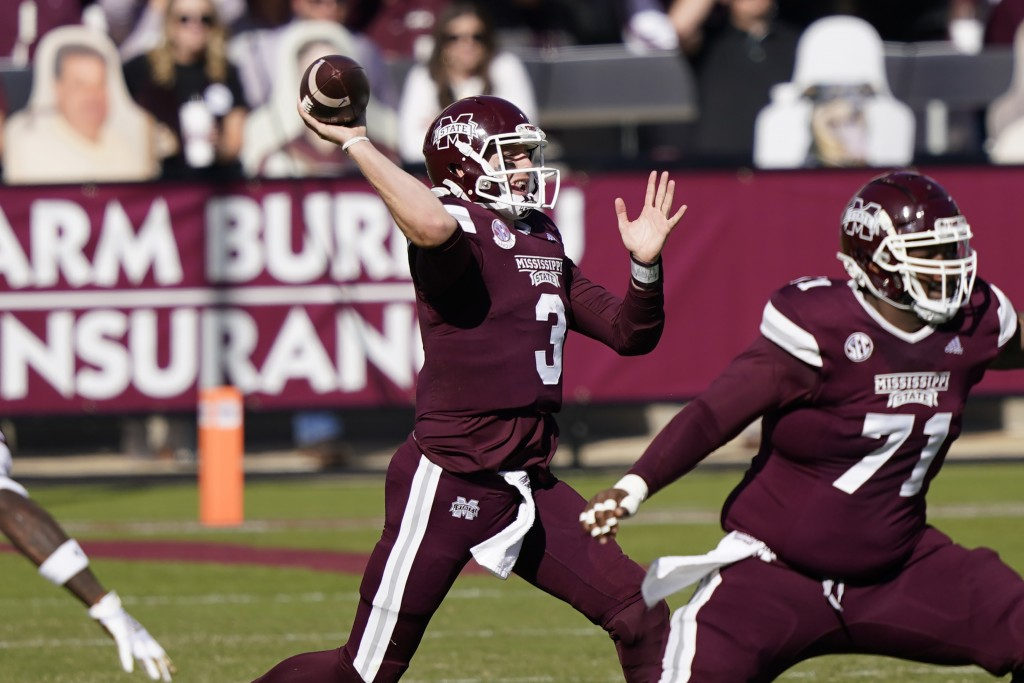 Mississippi State quarterback K.J. Costello (3) passes against Texas A&M during the first half of an NCAA college football game in Starkville, Miss., ...