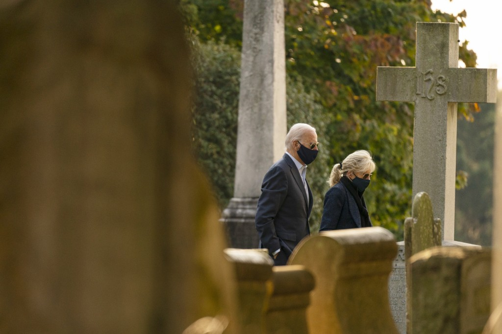 Democratic presidential candidate former Vice President Joe Biden and his wife Jill Biden, arrive for mass at St. Joseph On the Brandywine Roman Catho...