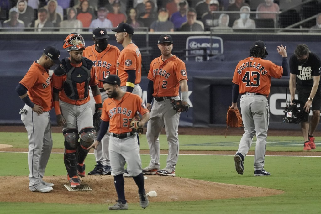 Houston Astros pitcher Lance McCullers Jr. (43) walks off the field after being relieved during the fourth inning in Game 7 of a baseball American Lea...