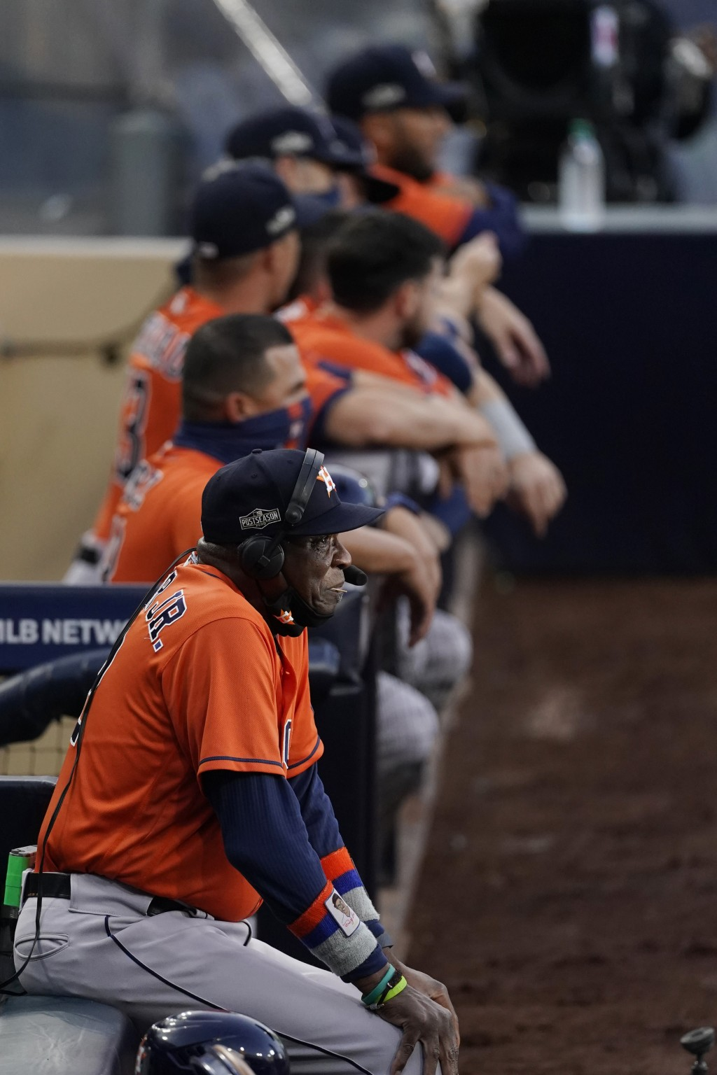 Houston Astros manager Dusty Baker Jr. for the start of Game 7 of a baseball American League Championship Series against the Tampa Bay Rays, Saturday,...